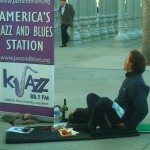 KJAZ Signage and Jazz Enthusiast at the Ernie Andrews Performance at LACMA May 23, 2012
